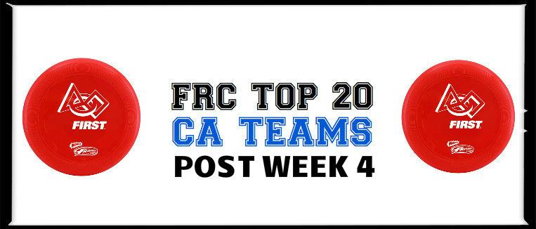 Top 20 CA FRC Teams: Post Week 4 Poll